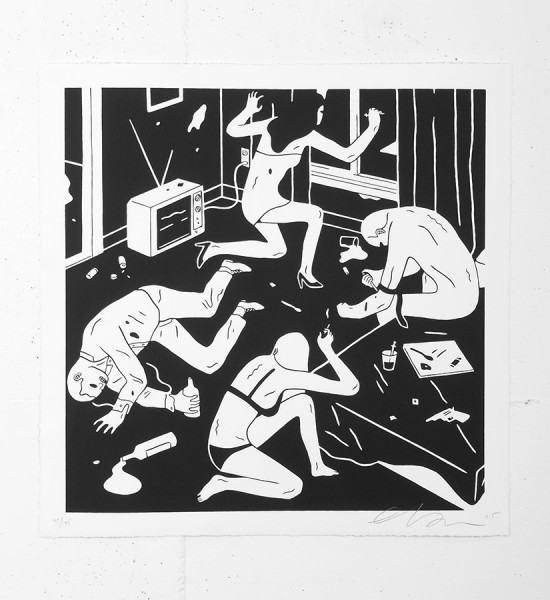 "Entitled ""Junky"" (white), this screen print by Cleon Peterson is an edition of 75. Made in 2015, it is signed and numbered by the artist. Format : 20 x 20 inches (50,8 x 50,8 cm). The work is sold unframed."