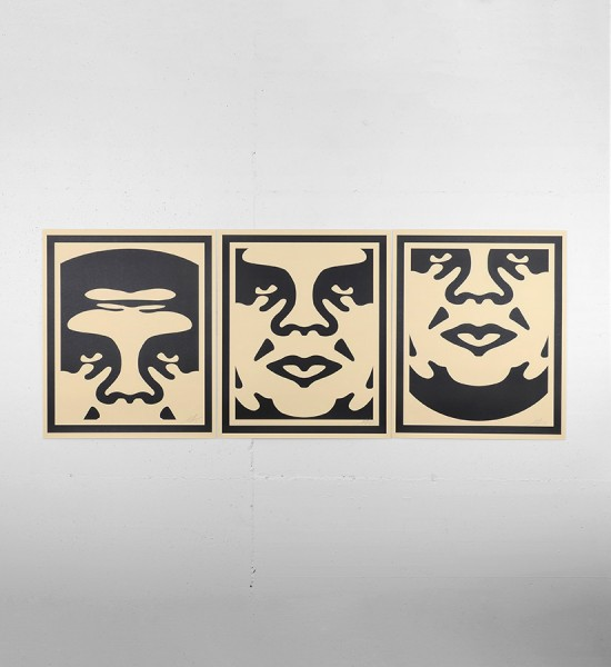 "Entitled ""Obey 3-face cream"" (set), this offset prints by Shepard Fairey (Obey) are an open edition. Made in 2016, it is signed by the artist. Format : 18 x 24 inches (46 x 61 cm). The work is sold unframed."