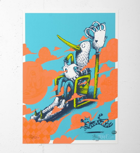 "Entitled ""Air Cello"", this screen print by Alëxone is an edition of 30. Made in 2011, it is signed and numbered by the artist. Format : 19,7 x 27,5 inches (50 x 70 cm). The work is sold unframed."