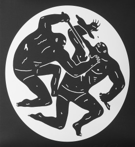 Cleon Peterson Destroying the Weak 2 screen print artwork serigraphie oeuvre detail 1