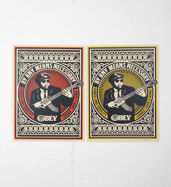 "Entitled ""By any means necessary"" (set), this screen prints by Shepard Fairey (Obey) are an edition of 300. Made in may 2007, they are signed and numbered by the artist. Format : 18 x 24 inches (46 x 61 cm). The works are sold unframed."