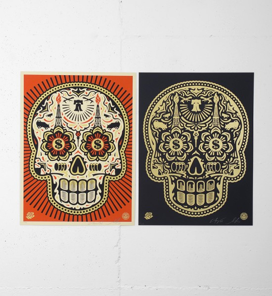 "Entitled ""Power & Glory Day of the Dead Skull"" (set), this screen prints by Shepard Fairey (Obey) and Ernesto Yerena are an edition of 450. Made in october 2014, they are signed and numbered by the artists. Format : 18 x 24 inches (46 x 61 cm). The works are sold unframed."