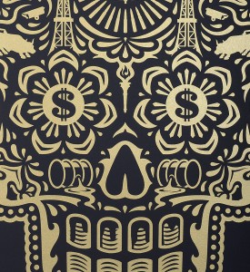 Shepard Fairey Obey Giant Ernesto Yerena Power and Glory Day of the Dead Skull set screen print artwork oeuvre art 2014 detail 2