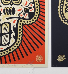 Shepard Fairey Obey Giant Ernesto Yerena Power and Glory Day of the Dead Skull set screen print artwork oeuvre art 2014 limited edition 450 numbered