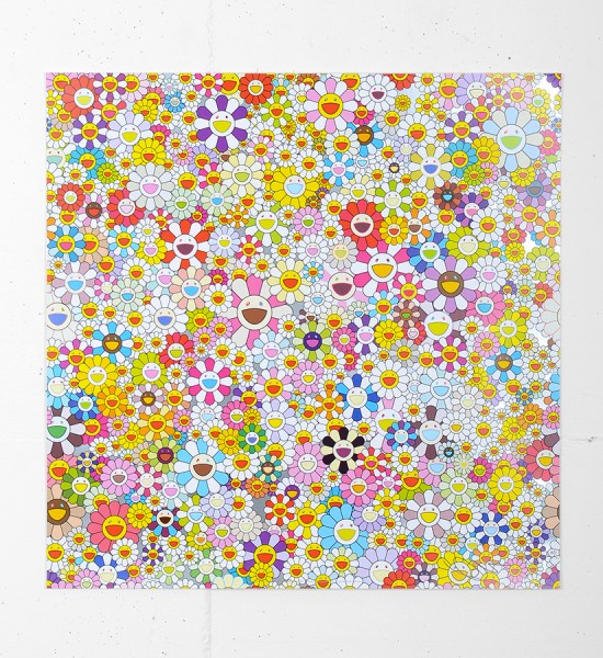 "Entitled ""Flowers Blooming in the World and the Land of Nirvana 5"", this offset print by Takashi Murakami is an edition of 300. Made in 2013, it is signed and numbered by the artist. Format : 19,6 x 19,6 inches (50 x 50 cm). The work is sold unframed."