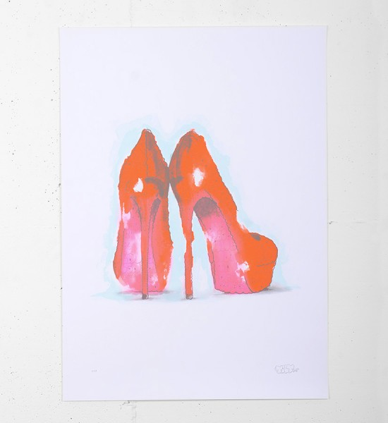 "Entitled ""Closer To God In Heels"" (red version), this screen print by Tilt is an edition of 50. Made in 2012, it is signed and numbered by the artist. Format : 19,7 x 27,5 inches (50 x 70 cm). The work is sold unframed."