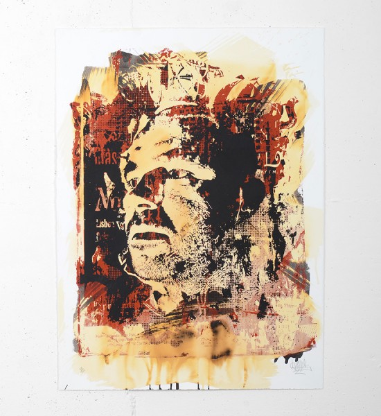 "Entitled ""Corpocracy"", this enhanced screen print by Vhils is an edition of 100. Made in 2010, it is signed and numbered by the artist. Format : 30 x 22 inches (76 x 56 cm). The work is sold unframed."