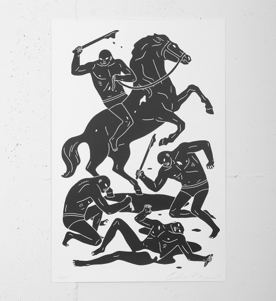 "Entitled ""Dark Rider"", this screen print by Cleon Peterson is an edition of 150. Made in 2014, it is signed and numbered by the artist. Format : 24 x 16 inches (60,9 x 40,6 cm). The work is sold unframed."