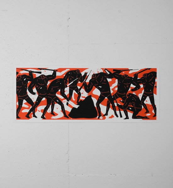 "Entitled ""Burning The Dead"" (red version), this screen print by Cleon Peterson is an edition of 150. Made in 2016, it is signed and numbered by the artist. Format : 43,5 x 17 inches (109,2 x 43,1 cm). The work is sold unframed."