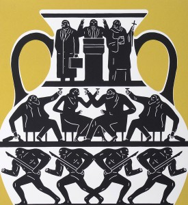 Cleon Peterson Trump 2017 gold or artwork screen print oeuvre serigraphie 2017 edition 175 detail
