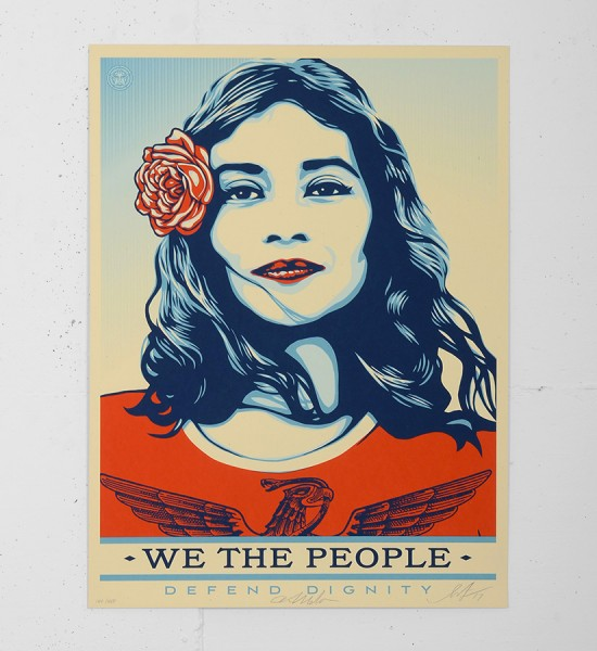 "Entitled ""Defend dignity"", this screen print by Shepard Fairey (Obey) and Arlene Mejorado is an edition of 450. Made in 2017, it is signed and numbered by the artists. Format : 18 x 24 inches (46 x 61 cm). The work is sold unframed."