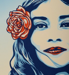 Shepard Fairey Obey Giant Arlene Mejorado Defend dignity artwork screen print oeuvre art serigraphie detail