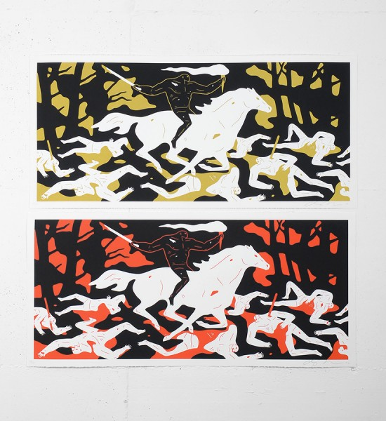 "Entitled ""Victory"" (set), this 2 screen prints by Cleon Peterson are an edition of 150. Made in 2016, they are signed and numbered by the artist. Format : 36,5 x 17 inches (92,7 x 43,1 cm). The works are sold unframed."