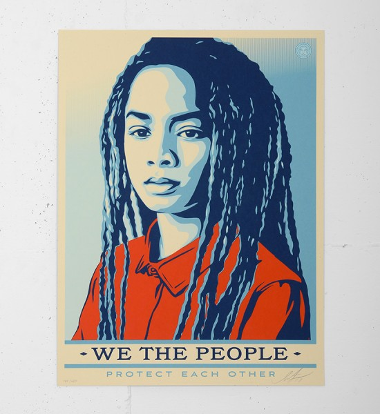 "Entitled ""Protect each other"", this screen print by Shepard Fairey (Obey) is an edition of 450. Made in 2017, it is signed and numbered by the artist. Format : 18 x 24 inches (46 x 61 cm). The work is sold unframed."