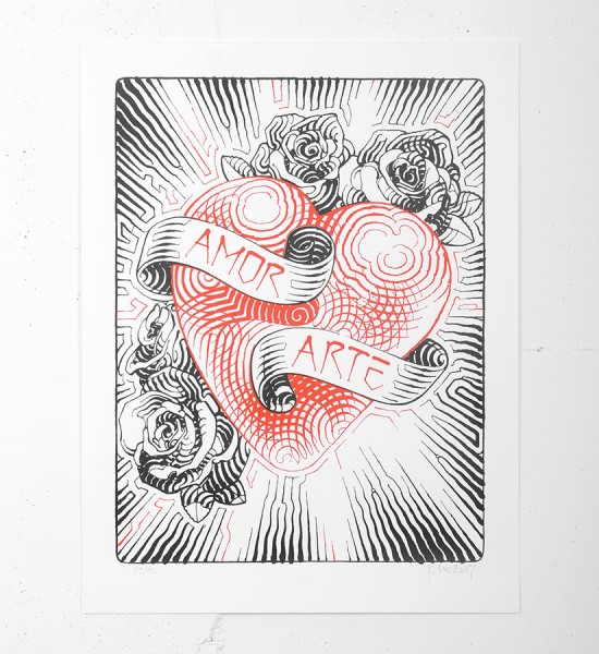 """Entitled """"Amor y Arte"""", this screen print by El Mac is an edition of 90. Made in 2017, it is signed and numbered by the artist. Format : 20 x 26 inches (50,8 x 66 cm). The work is sold unframed."""