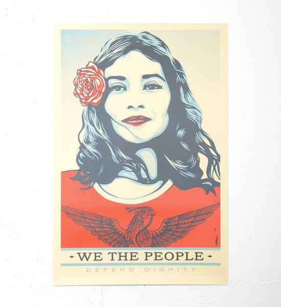 "Entitled ""Defend dignity"", this offset print by Shepard Fairey (Obey) and Arlene Mejorado is an open edition. Made in 2017, the format is 24 x 36 inches (60,9 x 91,4 cm). The work is sold unframed."