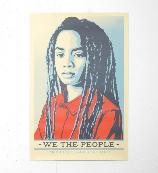 "Entitled ""Protect each other"", this offset print by Shepard Fairey (Obey) is an open edition. Made in 2017, the format is 24 x 36 inches (60,9 x 91,4 cm). The work is sold unframed."