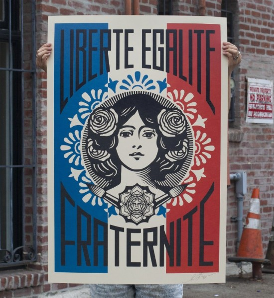 shepard fairey obey giant Liberte-Egalite-Fraternite-Offset print signed by the artist available sold art soldart.com