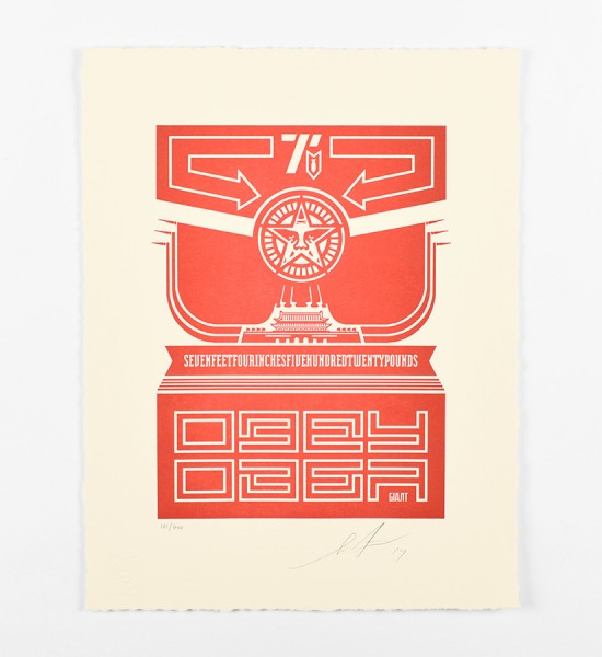 shepard fairey obey giant Chinese banner letterpress artwork art 2014 limited edition 400
