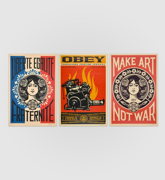 shepard fairey obey giant Liberte egalite fraternite Print and destroy Make Art not war artwork offset print oeuvre art 2019 open edition