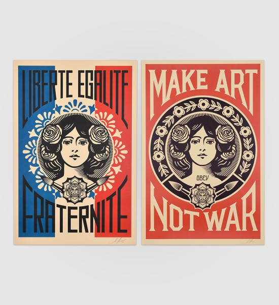 shepard fairey obey giant Make Art not war and Liberte egalite fraternite artwork offset print oeuvre art 2019 open edition