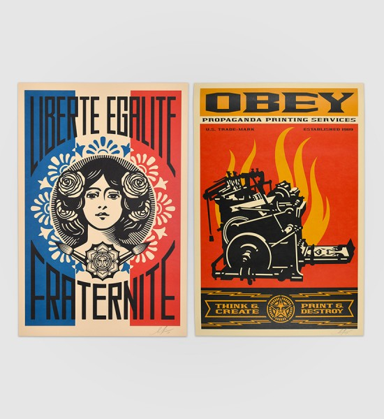 shepard fairey obey giant Print and destroy and Liberte egalite fraternite artwork offset print oeuvre art 2019 open edition