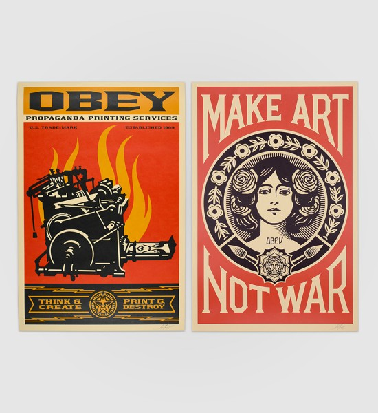 shepard fairey obey giant Print and destroy and make art not war artwork offset print oeuvre art 2019 open edition