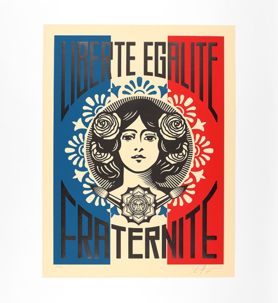 Shepard Fairey obey giant liberte egalite fraternite-artwork-oeuvre-art-2018-letterpress-print-limited-edition-90
