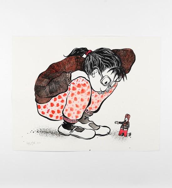 ella-et-pitr-papiers-peintres-La jeune fille et le tout petit monsieur-artwork-oeuvre-art-2016-screen-print-enhanced-serigraphie-rehaussee-limited-edition-11-sur-25