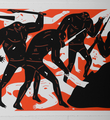 Cleon Peterson Burning The Dead red rouge artwork screen print serigraphie oeuvre art detail 1