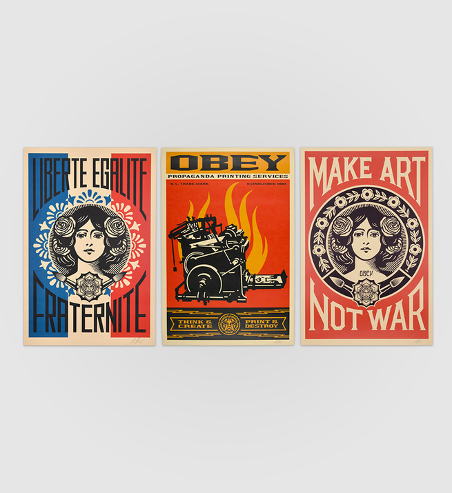 Liberté, égalité, fraternité + Print and destroy + Make Art not war (offset)