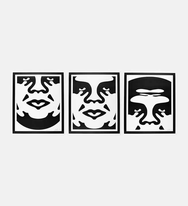 Obey 3 face white (set)